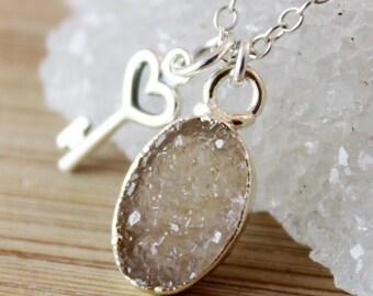 50% OFF SALE - Oval Druzy Necklace with Heart Key Charm Necklace - 925 Silver - Key Jewelry