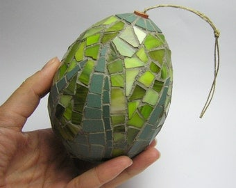 Mosaic Handmade Ornament egg - Christmas Tree and Home decor - green ceramic and glass tiles