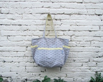 Her Royal Majesty Upcycled Weekender / Diaper Bag - Grey and Yellow / Pink Modern Crowns - Eco Friendly Kid - Under 50 Pageant / Baby Gift