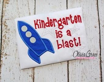 Kindergarten is a Blast, Back to School Embroidered Shirt