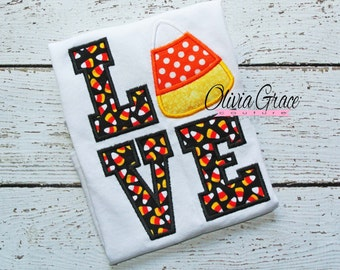 Halloween Candy Corn LOVE Embroidered Applique Shirt or Bodysuit