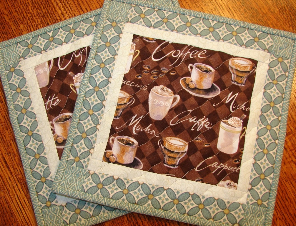 Coffee Themed Mug Rugs Place Mats Coasters Pair In Brown