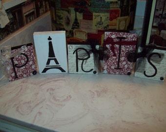 Paris red damask letter blocks Eiffel Tower,Paris decor,Paris bedroom decor,Paris wedding decor,Paris bridal shower,Paris girls room