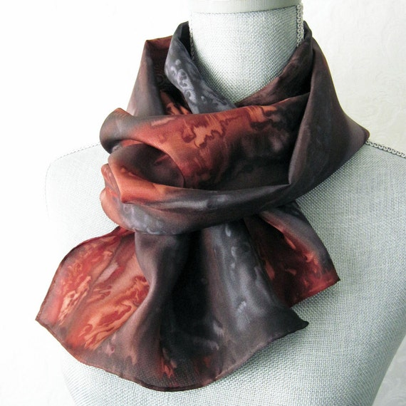 Silk Scarf Hand Painted in Brown and Black and Gray