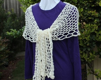 Cream Color Crocheted Lace Scarf, Ivory Color Lacy Wrap, Women's Accessory, Lacy Crochet Shawl, Gift for Her, Summer Scarves