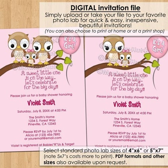 Blank Owl Baby Shower Invitations: Girl Owl Baby Shower Invitations With Mommy Daddy Family Pink