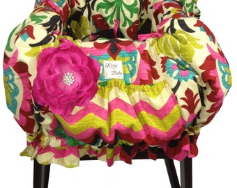 Fancy Floral Baby Shopping Cart Cover, Restaurant High Chair Cover padded and made for up to two children