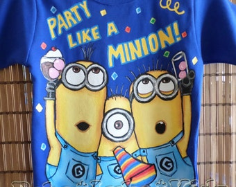 BIRTHDAY PARTY despicable me Disney boys Boutique custom painted SHIRT 12 18 24 2 3 4 5 6 8