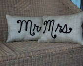 Burlap Mr and Mrs Pillows Dimensional Needle felted Design