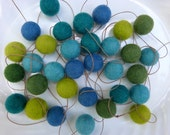 Felt Garland -- sea colors of marine blues and ocean greens - home & living - nautical felt ball garland marine blue green teal - 4.5 ft