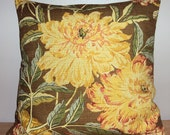 SALE 18x18 Brown Golden Yellow Barkcloth Texture Floral Pillow Cover - WAS 35.00 NOW 10.00