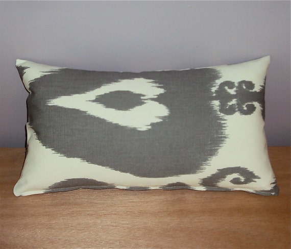 16x9 Gray and Cream Ikat Lumbar Pillow Cover - Zipper Closure