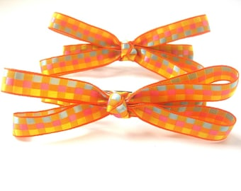 Orange and Yellow Checkered Hair Bows Set of 2