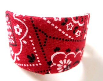 Red Bandana Ponytail Cuff