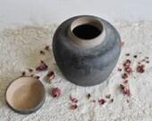 Vintage Black Glazed Ceramic Lidded Vase, Pottery, Jar With Lid, Ginger Jar, Black, Matte Glaze