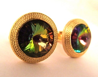 Vintage 1960's Aurora Boreales Rhinestone and Gold Plated Cufflinks // Rat Pack Gangster NOS