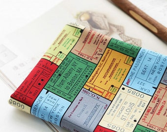 Vintage Style Illus of Tickets on Cotton, U7123