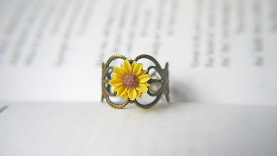 Yellow Sunflower Ring Antique Brass Filigree Adjustable Ring