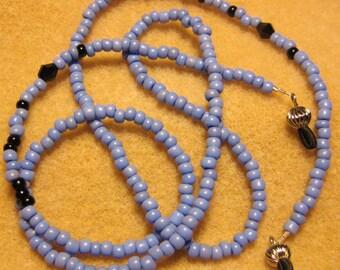 Handmade Eyeglass Lanyard Periwinkle Beads - Black Beads with silver eye glass holder - 30 inches - sunglass holder - eyeglass accessories