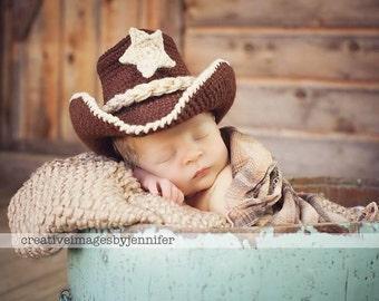 Baby Cowboy - Baby Photo Prop - Baby Cowboy Hat - Crochet Cowboy Hat - Newborn Photo Props - Newborn cowboy hat - cowboy hat - cowgirl hat