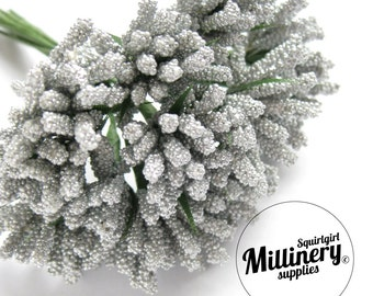 Metallic Silver Bobble Bud Flower Picks / Stamens for Millinery, Corsages & Boutineers Bunch of 12