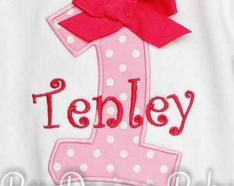Girls First Birthday Shirt, Birthay Number Shirt, Birthday Gift, Custom Fabrics, Colors, and Font, Girls Birthday Shirt