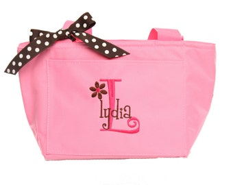 Personalized Lunch Bag or Tote, Monogrammed Lunch Bag, Monogrammed Lunch Tote, Custom Colors and Name, Boys or Girls