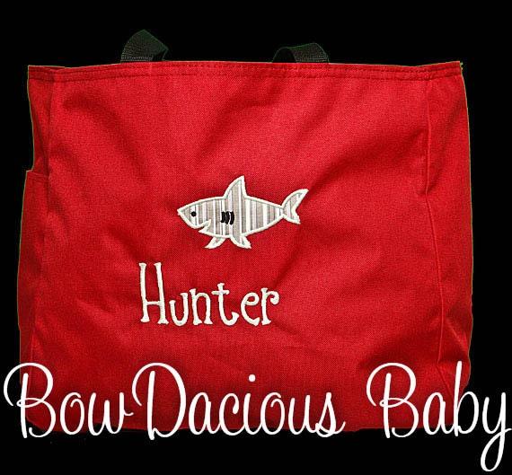 Swim Lesson Bag: Personalized Tote Bag, Shark Tote Bag, Custom Colors