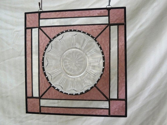 Stained Glass Depression Glass Plate Panel with Vintage Colonial Knife and Fork Dish