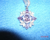 Napier Silvertone Dual Chain 18 inch Necklace  with Purple and White Rhinestones