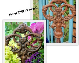 TWO Matching Classic Trellis Towers All Metal Five Foot Tall with CROWN DELUXE Finial Toppers