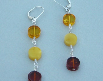 Amber earrings tricolor amber wrapped on sterling silver wire