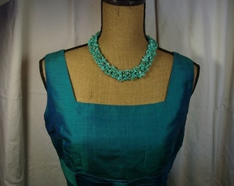 Natural American Turquoise Gemstone Chips 4 Strand Interwoven Band Necklace,.925 Silver