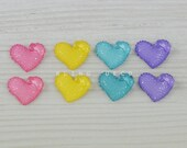 15mm x 18mm Faceted Glitter Heart Shape Resin Cabochon 8 Pieces Mix Colour, Pink, Yellow, Sea Blue, Purple, Flat Back, Kawaii Embellishment