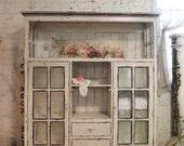 Painted Cottage Chic Shabby Cape Cod Farmhouse Cabinet CC52