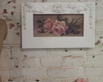 Painted Cottage Chic Shabby Romantic Rose Canvas Print HD61