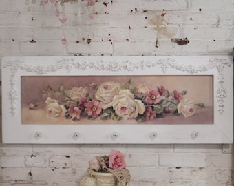 Painted Cottage Chic Shabby Romantic Rose Canvas Print HD62