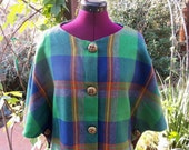 Tartan Wool Cape Wool Cape Plaid Wool Cape Vintage Cape 1960s Plaid Cape Tartan Plaid Wool Cape Mod Cape 60s Cape Plaid Cape Green Plaid