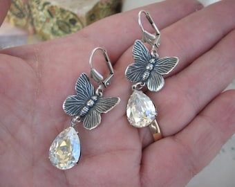 Moonlit Butterfly Swarovski Crystal Dangle Earrings - E141