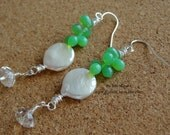 Coin Pearl Earrings Silver Wire Wrapped Green Czech Glass and Swarovski Crsytal Wire Wrapped Earrings Wedding Bride Gift for Her Bubble