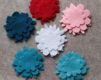 Frosted Sweets - Flowers - 36 Die Cut Felt Flowers