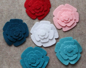 Frosted Sweets - Roses - 48 Die Cut Felt Flowers