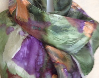 Spring green and fresh violets hand painted silk jacquard scarf