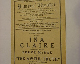 1923 Powers Theatre Program Ina Claire & Bruce McRae in The Awful Truth Theater Antique Art Deco