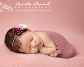 Purple & White Triple Rose Silk Flower Skinny Elastic Newborn Baby Girl Headband - Toddler Child  Photography Prop Vintage