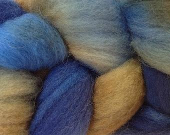 Blue Brown Wool Roving Hand Dyed in Indigo Cowboy