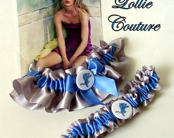 Football Wedding Garters Custom bridal lingerie Blue Garters Lions football garters