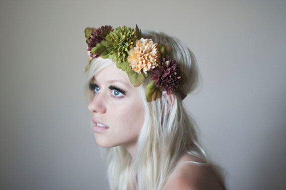 Earth Toned Flower Headpiece- Leather Crown Fall Colors Floral Hair Accessory