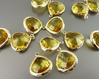 2 yellow topaz glass pendant   earring findings for bridesmaid jewelry 5058G-TO