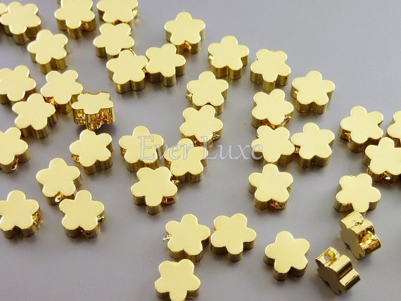 8 Gold plated 6mm small flower silhouette beads / floral beads for jewelry making / jewelry supplies necklaces 1658-BG-6 (6mm, gold, 8 pcs)